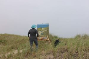 Claire J Kendrick painting en plein air - Cape Cod. MA