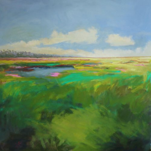 Vibrant Marsh |48x48 | Oil Encaustic | Giclee Code I