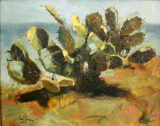 Oil painting of prickly pear cactus growing wild in sand dunes of north Florida