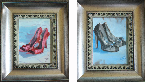 Paintings of high heel shoes for charity auction