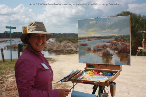 Artist Plein Air Painting at Six Mile Boat Ramp, Guana State Park.