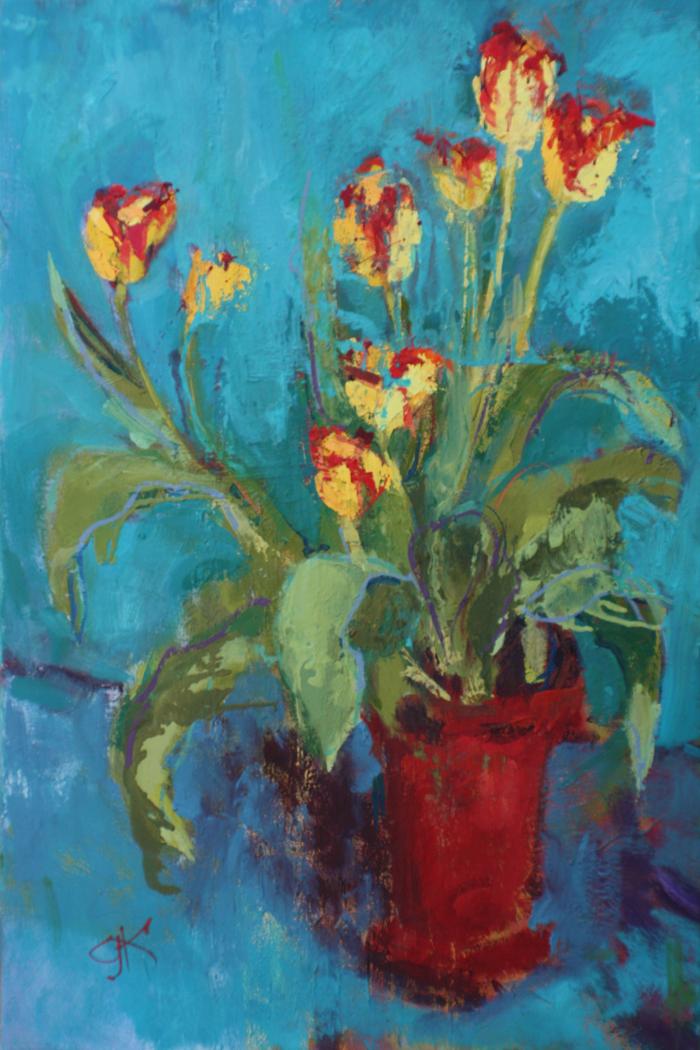Tulips in Red Vase