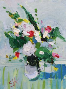 An Array of Flowers on Stripes | 8x6 | Oil Impasto