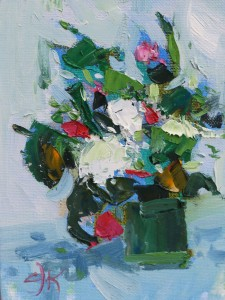 Hydrangea and Folige in Green Vase | 8x6 | Oil Impasto