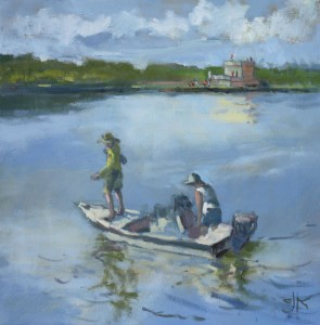 Boating at Fort Matanzas | 18x18 | Oil