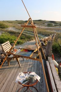 Claire J Kendrick plein air set up for early morning painting.