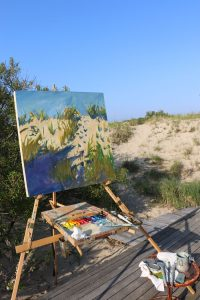 Claire J Kendrick works large outdoors capturing the scene en plein air.